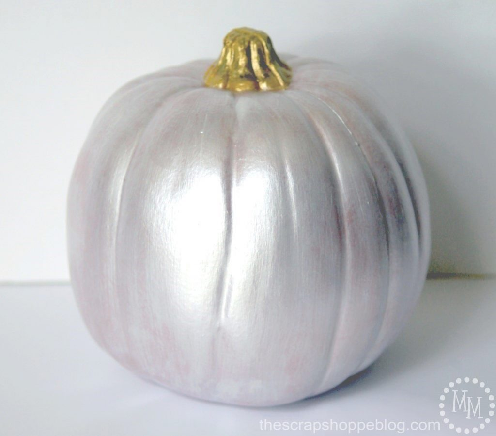 Make your own buffalo check pumpkin with trendy metallic paint!