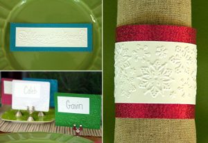 DIY embossed paper Christmas place settings