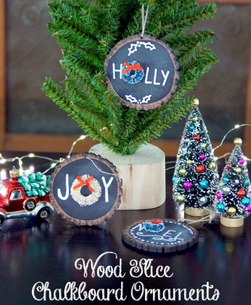 wood slice chalkboard ornaments