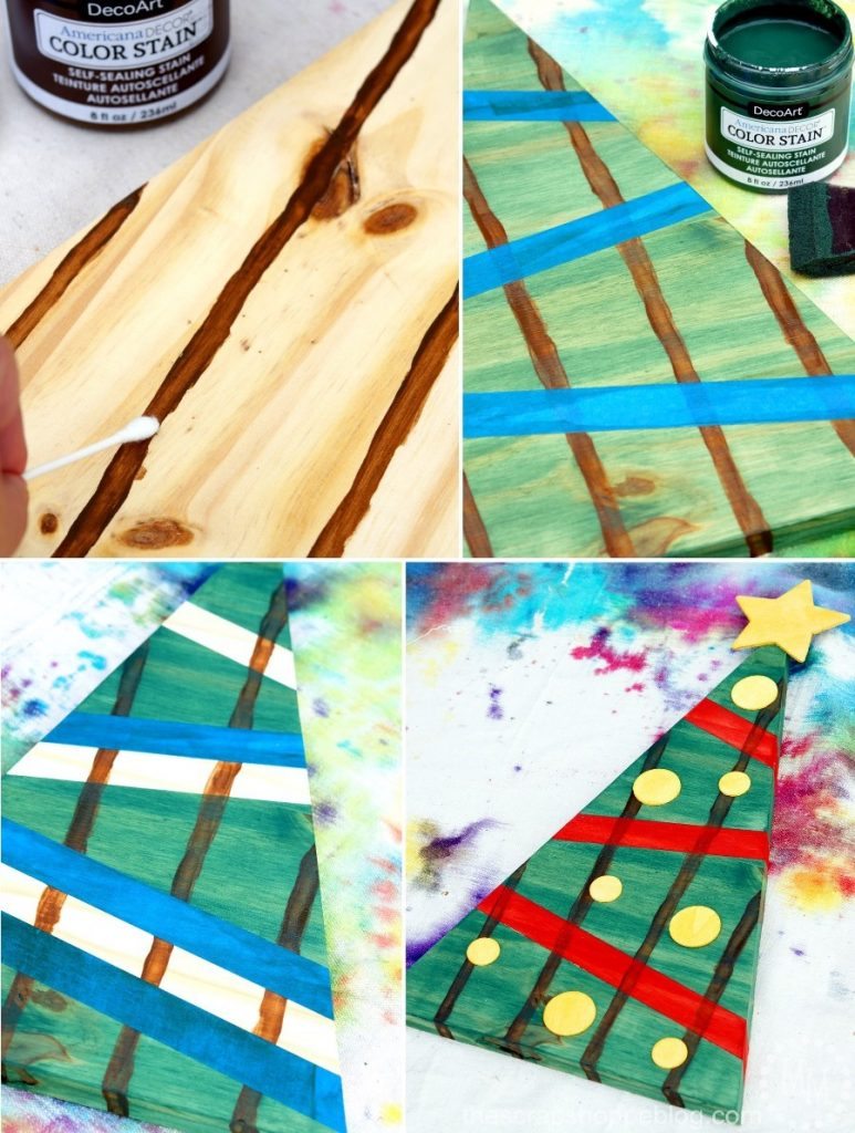 Use stain to create the look of pallets on regular wood! These stained Christmas trees are fun outdoor holiday decorations.