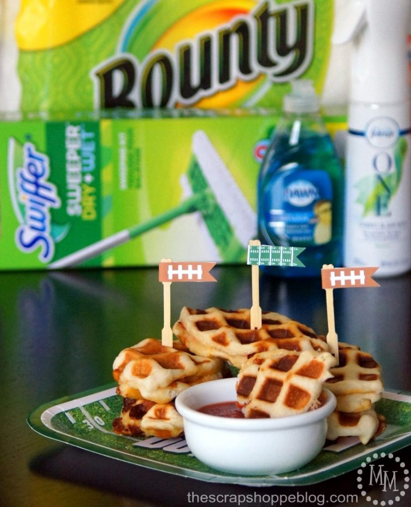 Get Game Day ready with a clean house and these delicious Football-shaped Pizza Waffle Sliders!