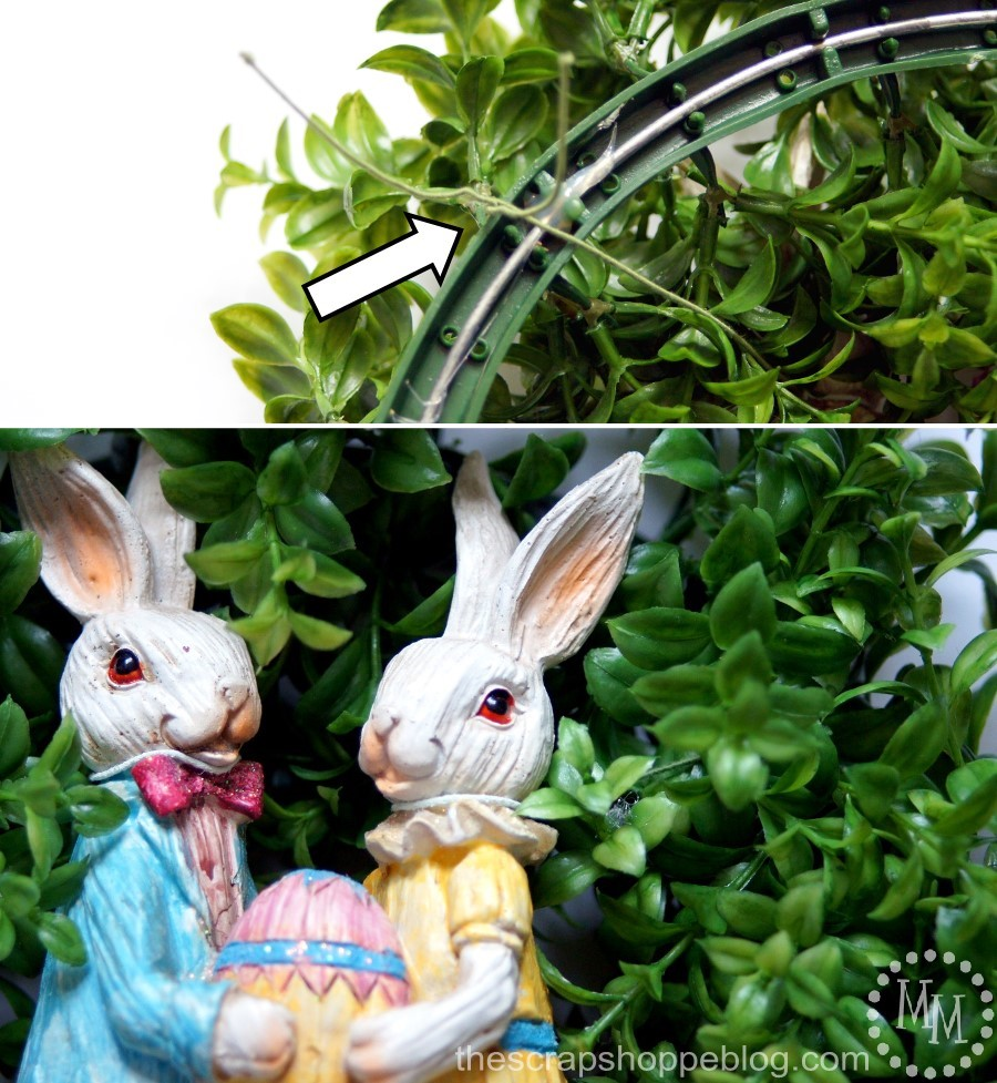 Dress up a boxwood wreath with an Easter figurine to celebrate the holiday!