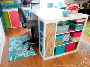 Take a tour of a colorful inviding craft area and see how to make the most out of a small space!