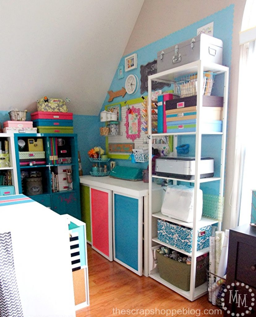 Take a tour of a colorful inviying craft area and see how to make the most out of a small space!