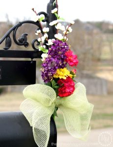 Dress up your mailbox for spring and summer with a pretty bouquet of faux flowers.