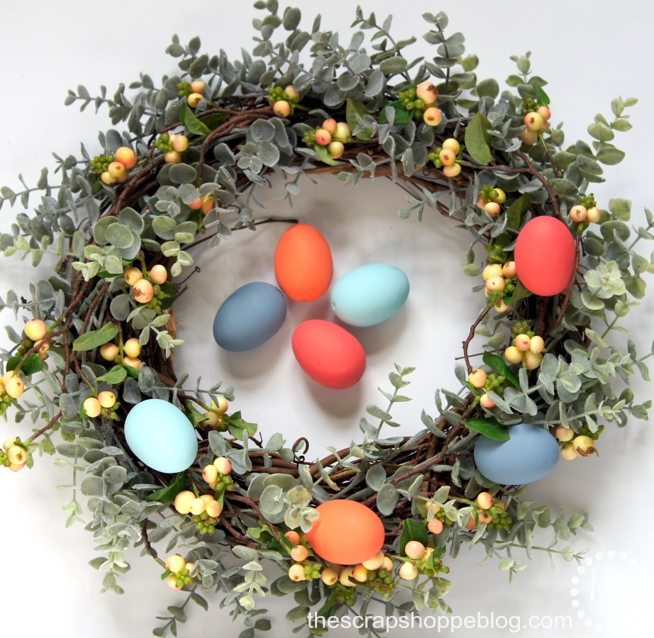 Turn a plain grapevine wreath into a stunning Easter egg wreath!