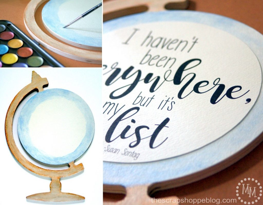Got wanderlust? Express your love of travel with a fun globe watercolor sign!