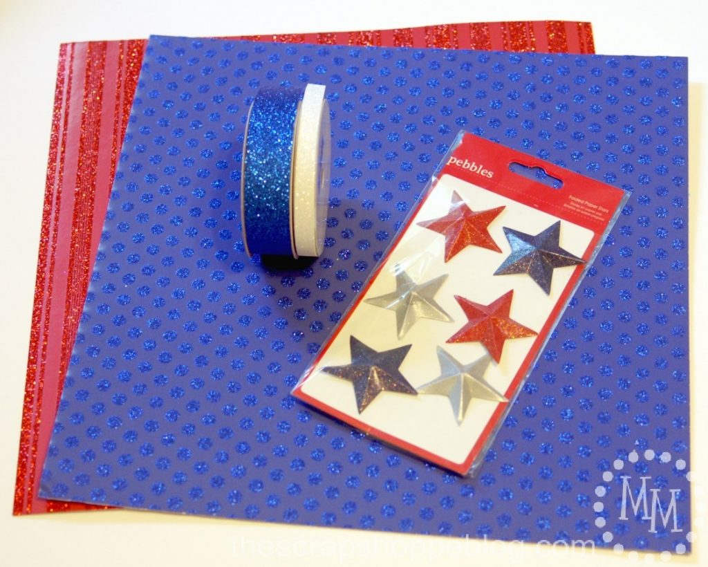 Make a patriotic statement centerpiece using scrapbook paper!