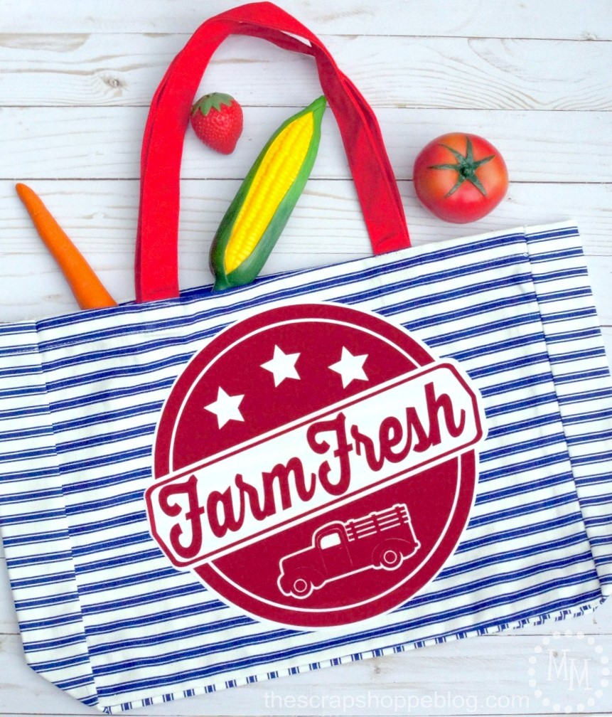 Download this Farm Fresh SVG file and create your own farmhouse tote!