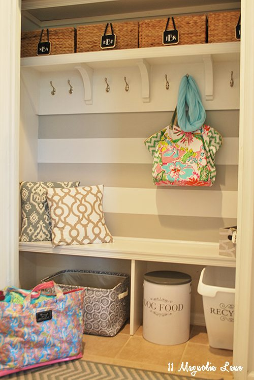 Turn your closet into a place to keep backpacks.