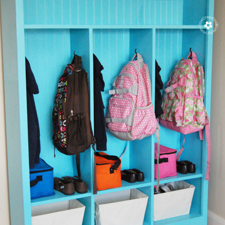 Make a DIY locker area for backpacks.