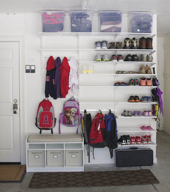 Create backpack storage in your garage.