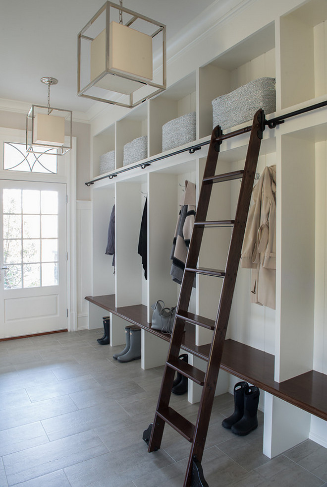Build your own mudroom with a rolling ladder.
