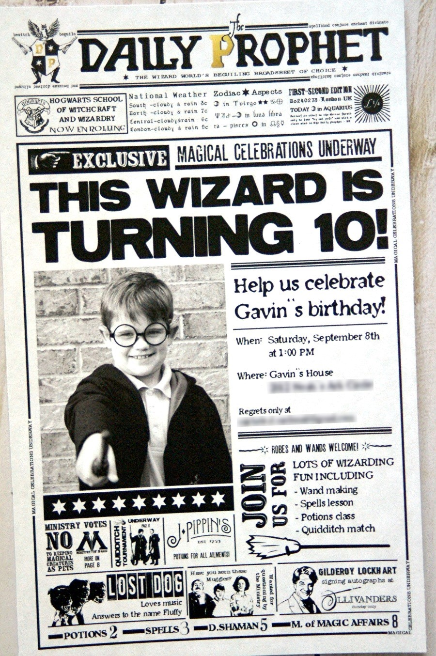 picture relating to Daily Prophet Printable named Harry Potter Birthday Invitation - The S Shoppe