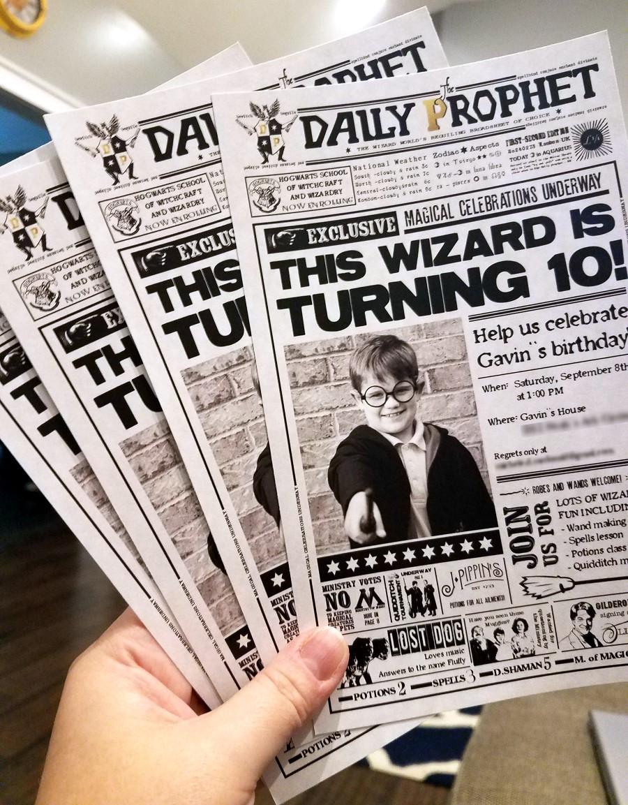graphic regarding Daily Prophet Printable referred to as Harry Potter Birthday Invitation - The S Shoppe