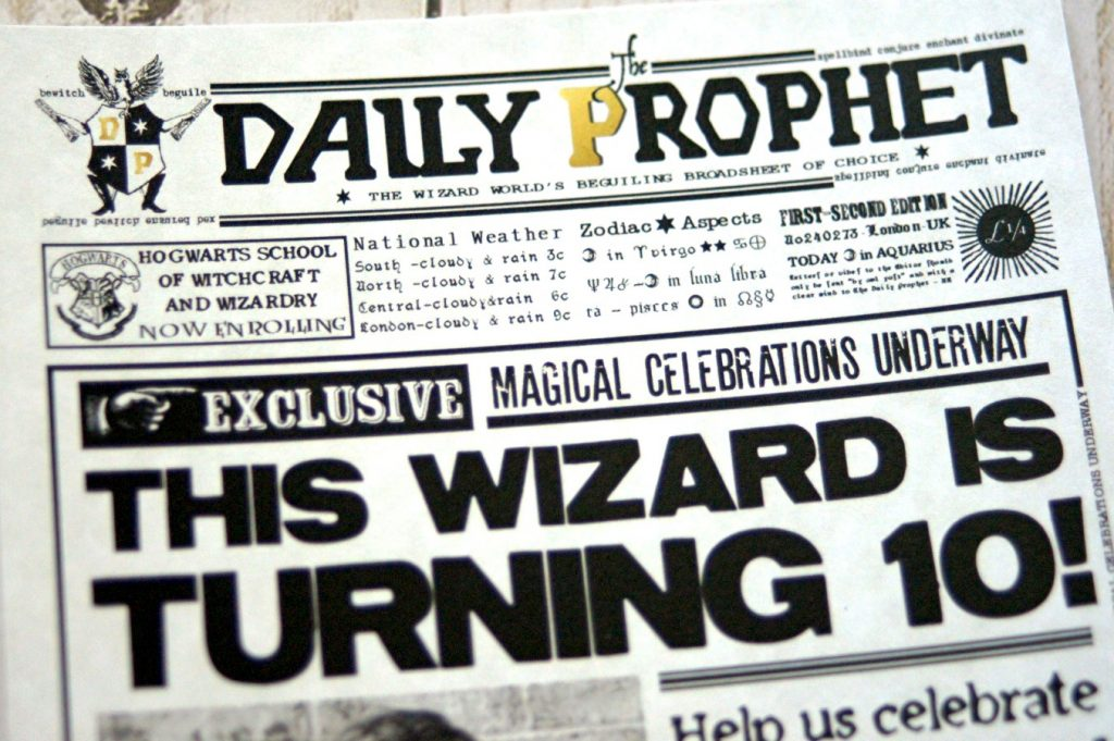 picture relating to Daily Prophet Printable identify Harry Potter Birthday Invitation - The S Shoppe
