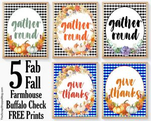 These FREE buffalo check farmhouse style prints are perfect for your fall home decor!