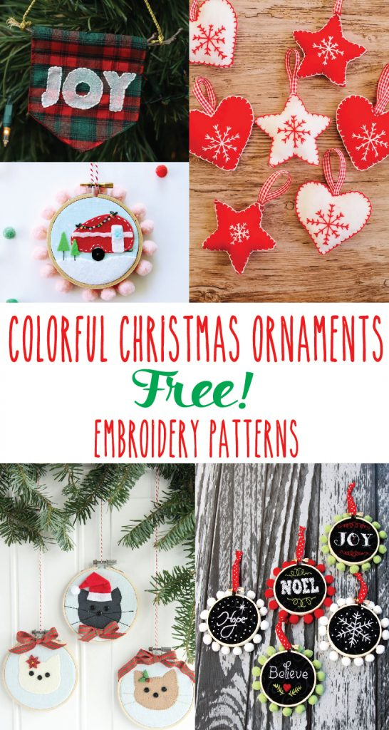 These colorful Christmas Ornament Embroidery Patterns are so fun to stitch up, and they would make such great gifts too!