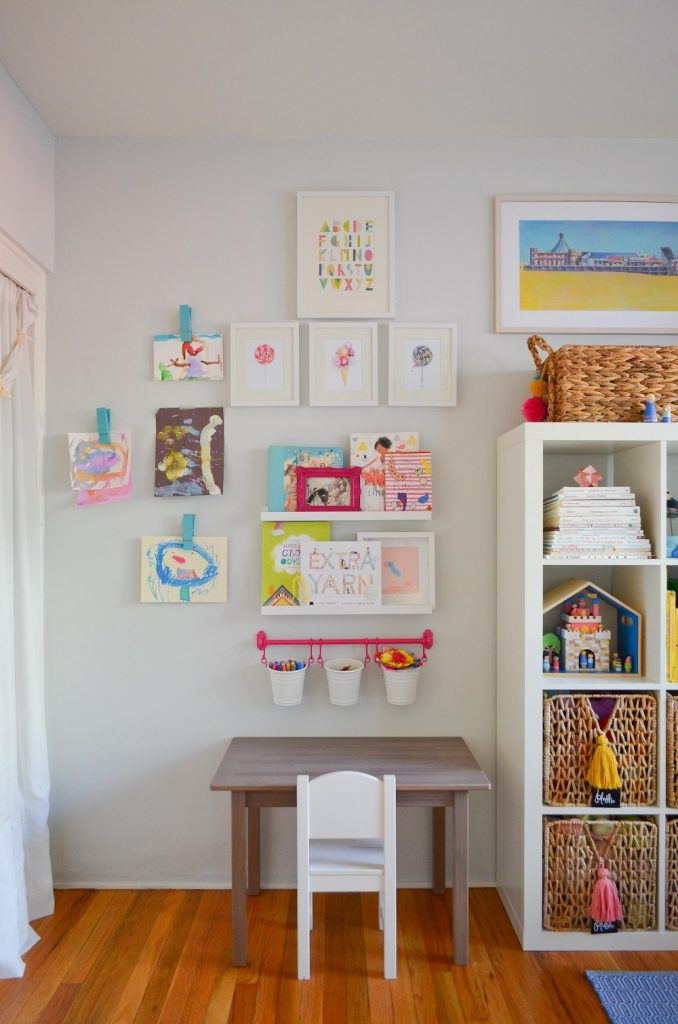 Create an art station in your playroom, even if the space is small!