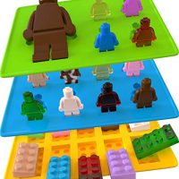 Yellow Building Brick and Blue and Green Multi-size Minifigure Silicone Ice Tray Candy Mold Set