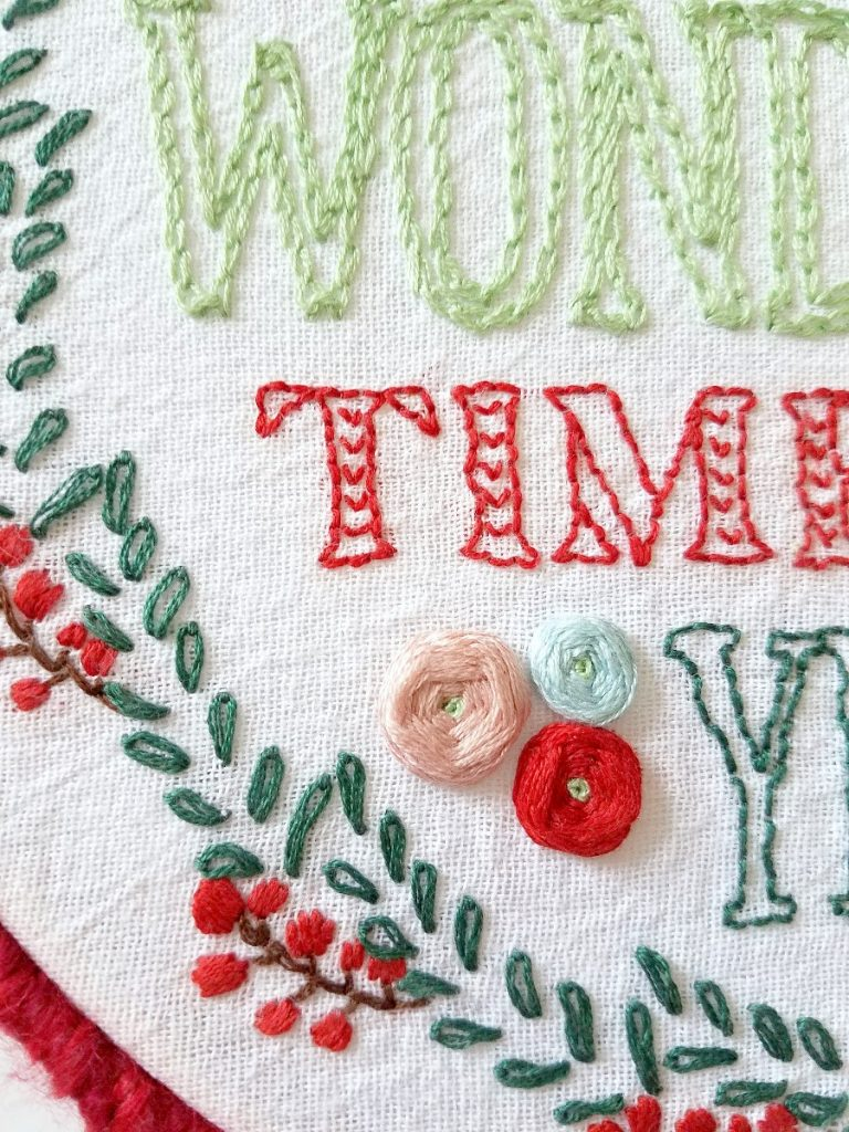 Most wonderful time embroidery close up