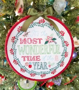 Most Wonderful Time Christmas Embroidery Hoop