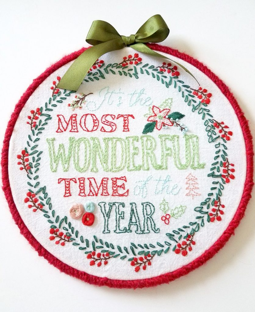 Most Wonderful Time Christmas Embroidery Hoop Art