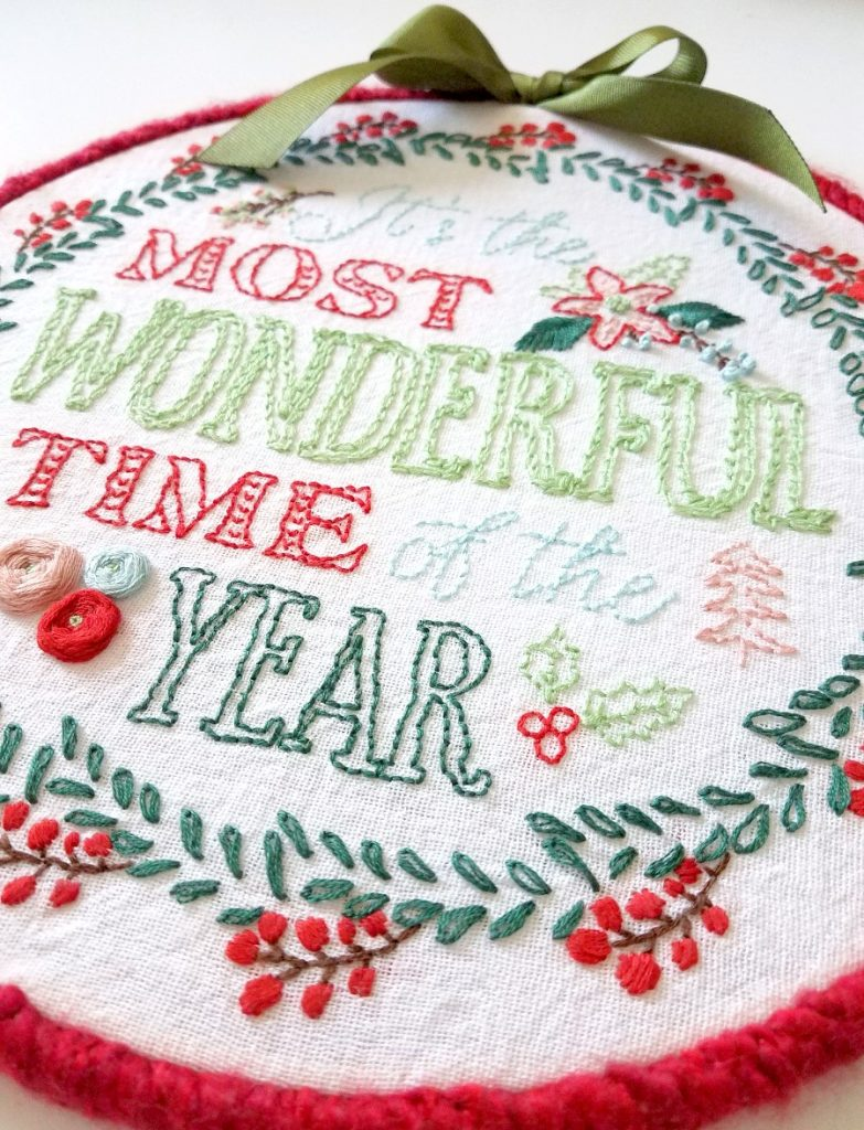 Most Wonderful Time Christmas Embroidery