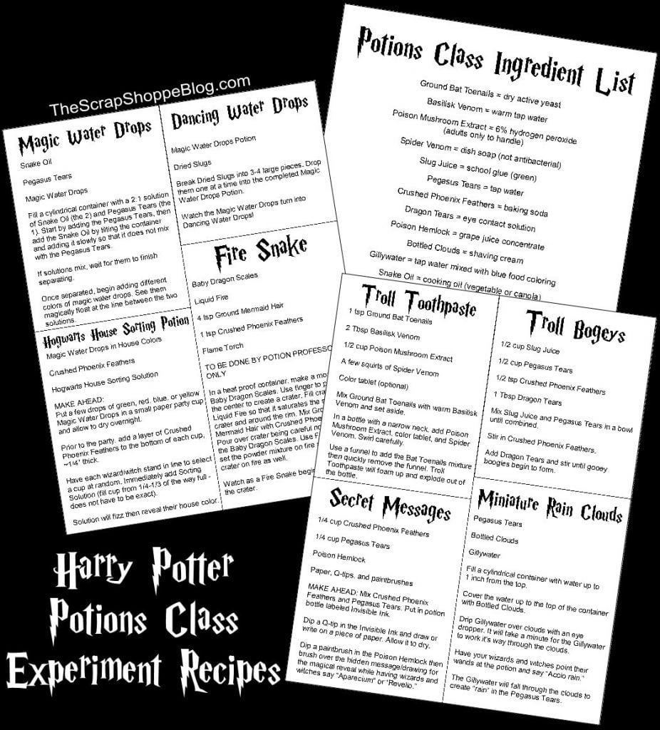 Harry Potter Potions Class Experiment Ideas